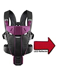 Baby Bjorn 096053US Miracle Baby Carrier with LED Safety Reflector Light - Black Purple Cotton Mix BOBEBE Online Baby Store From New York to Miami and Los Angeles