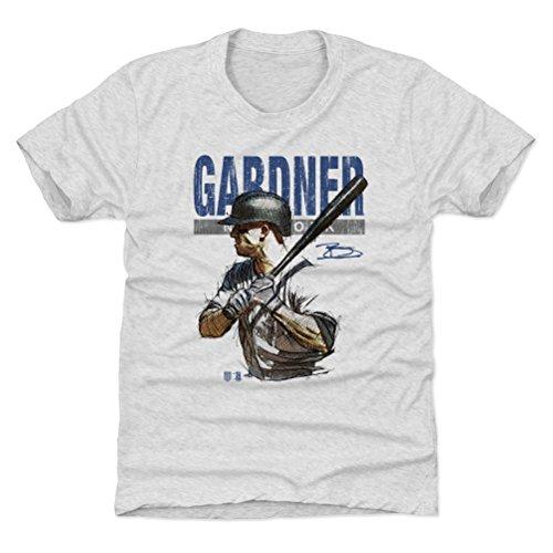 500 LEVEL Brett Gardner New York Baseball Youth Shirt (Kids Large (10-12Y), Tri Ash) - Brett Gardner Sketch B