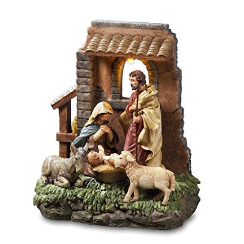 The San Francisco Music Box Company Holy Family in Stable Window Musical Nativity - Nativity Window