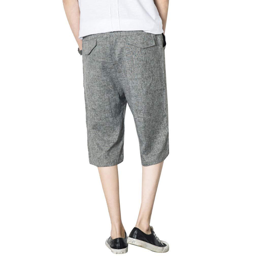 Palarn Sports Pants Casual Cargo Shorts Mens New Summer Fashion Leisure Flax Large Size Loose Calf-Length Shorts Pants