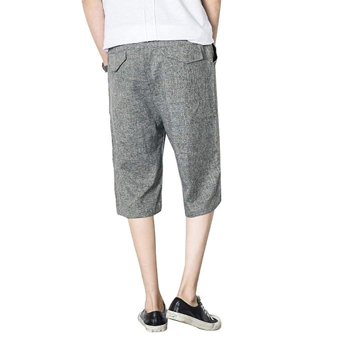 LuckyGirls Hombres Pantalones de Casual Playa Deporte Color Sólido ...
