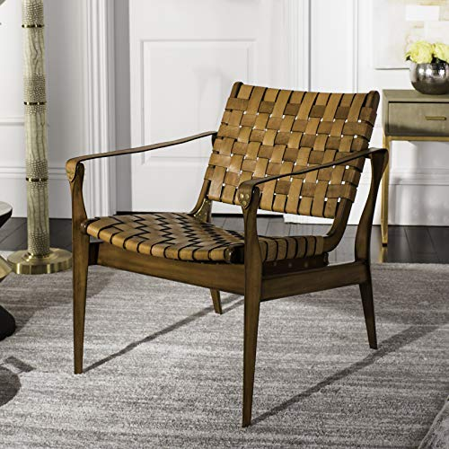 Safavieh Home Collection Dilan Leather Brown & Light Brown Safari Accent Chair Light (Chairs Style Safari)