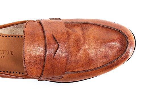 908 Mocassini Scarpe PANTANETTI Uomo Slim Made Olden Cuoio 11493H Brandy Italy wxwqZ6g