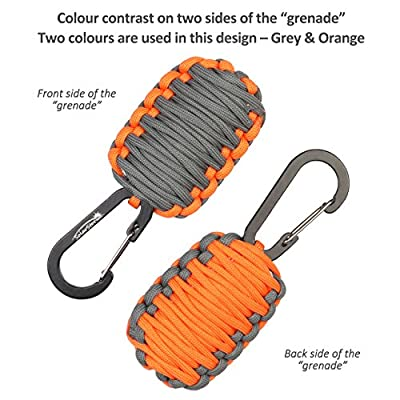 "Dimples Excel ""Seeker"" Set: Parachute Cord Paracord Survival Bracelet for wrist approx. 18cm-23cm (7""-9"") with Fire Starter and Striker + Carabiner ""Grenade"" Survival Kit"