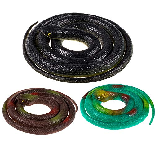 Whaline 3 Pieces Realistic Rubber Snakes, Fake Snakes Black Snake Toys for Garden Props to Scare Birds, Squirrels, Mice, Pranks, Halloween Decoration (2 Sizes, 47 Inch, 31.5 Inch)]()