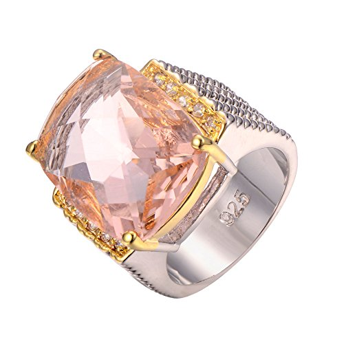 Morganite 925 Sterling Silver Filled Ring Size R 1/2