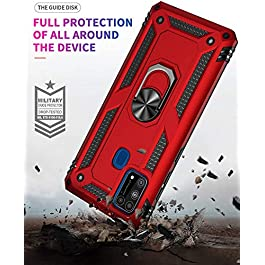 AE Mobile Accessories Ring Kickstand Phone Case for Samsung M21, [Military Grade] Heavy Duty Dual Layer Drop Protection Hard Shell + Soft TPU + Ring Stand Fits Magnetic Car Mount (Blue)