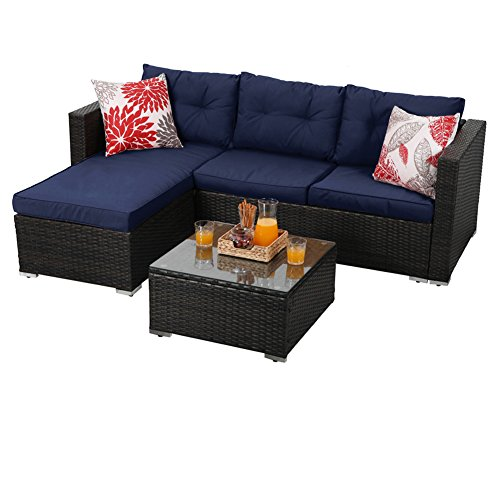 PHI VILLA 3-Piece Outdoor Rattan Sectional Sofa- Patio Wicker Furniture Set