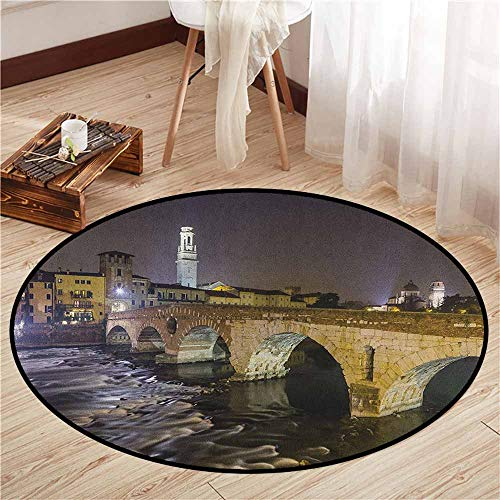 (Bedroom Rugs,Landscape,Ponte Pietra on River Adige Ancient Roman Bridge in The Old Town of Verona Italy,Sofa Coffee Table Mat,2'11