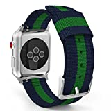 MoKo Band for Apple Watch Series 3 Bands, Fine Woven Nylon Adjustable Replacement Band Sport Strap for iWatch 38mm 2017 series 3 / 2 / 1, Blue & Green (Not fit 42mm Versions)