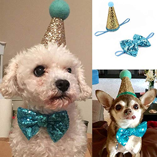 Glumes Pet Cute Birthday Party Cone Hat and Bow tie Collar Set with Adjustable Headband and Pom-poms Topper for Kitten Puppy Small Dogs Cats Pets]()