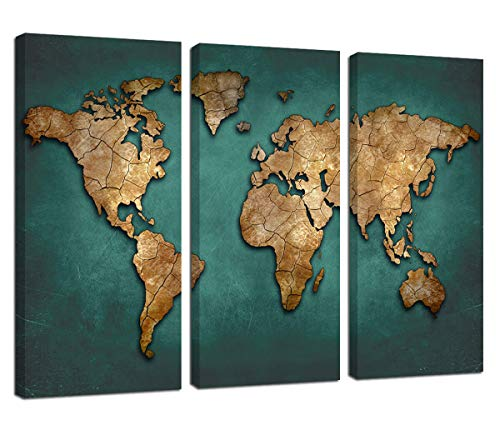Ardemy Canvas Wall Art Abstract World Maps Blue Framed Painting Retro Old 3 Panels Giclee Prints Gallery Wrapped Ready to Hang for Living Room Bedroom Study Room Office Home Decor