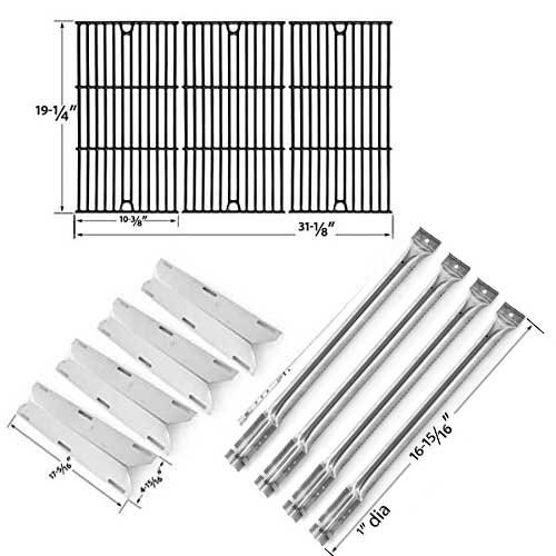 (Repair Kit for Charmglow 720-0536, 4 Burner BBQ Gas Grill Includes 4 Stainless Burners, 4 Stainless Heat Plates and Porcelain Cast Cooking Grids)