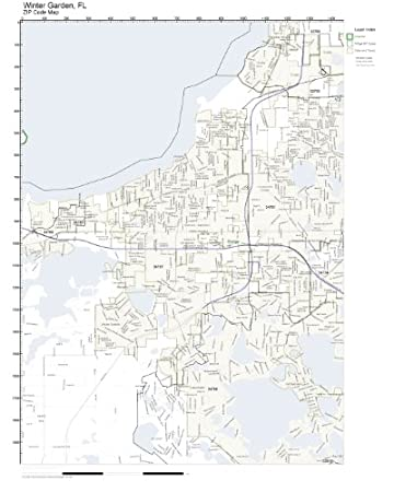 zip code wall map of winter garden fl zip code map not laminated - Winter Garden Fl Zip Code