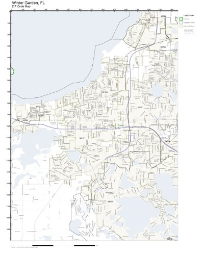 zip code wall map of winter garden fl zip code map laminated - Winter Garden Fl Zip Code