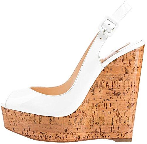 Calaier Mujer Catomorrow Tacón Ancho 14CM Sintético Hebilla Sandalias de vestir Zapatos Blanco