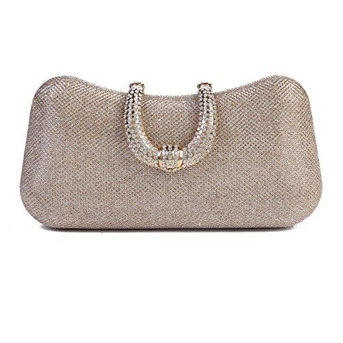 Damara Womens Rhinestone Clasp Sequin Mesh Hard Box Evening Clutch Bag,Champagne