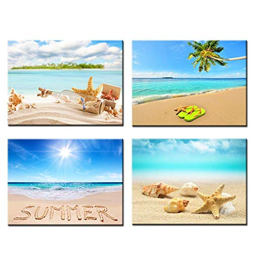 Kreative Arts Modern Giclee Canvas Prints Beach Sunset Wall Art Seascape Pictures on Canvas Stretched Framed Ready to Hang Home Decor Wall Decor 12x16inchx4pcs