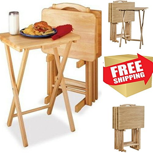 Folding Tray Wooden Table Desk Portable Ideal For Tv In Bed - Breakfast - Reading - Dinner Or Snacks,5 Pc Table Tray Set & EBOOK AWESOME HOME DECOR IDEAS. (Ideas Setting Table Breakfast)