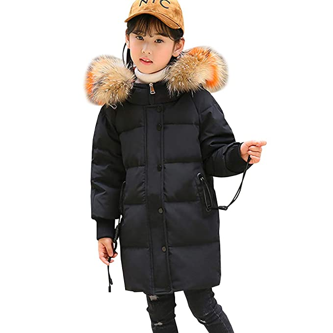 LSERVER Abrigo Acolchado Suelto de Plumas para niña Chaqueta de Invierno Abrigo Engrosado con Capucha de Pelo múltiples Colores, Negro, 11-12 años / 160: ...