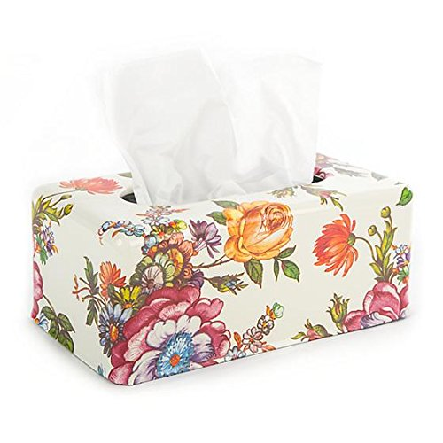 - MacKenzie-Childs Floral Stainless Steel Tissue Box Cover - Enamel Flower Market Print Rectangular Tissue Holder - 5