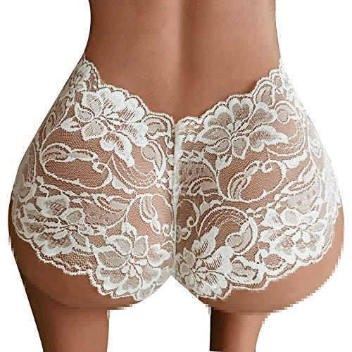 AIEason Lingerie Set, Girl High Waist G-String Brief Pantie Thong Lingerie Knicker Lace Underwear (M, White)