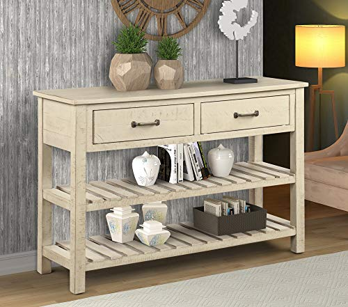 (P PURLOVE Console Table Sofa Table with Drawers Console Tables for Entryway with Drawers and 2 Tiers Wood Shelf (Antique Gray))