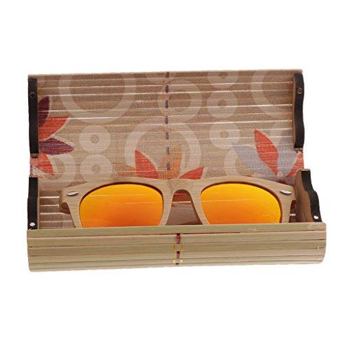 Soleil orange Lunette en de Lunette de SunniMix Bois Cadre Polarisées SM Boîte boîte Verre Accessoires wIpq6x