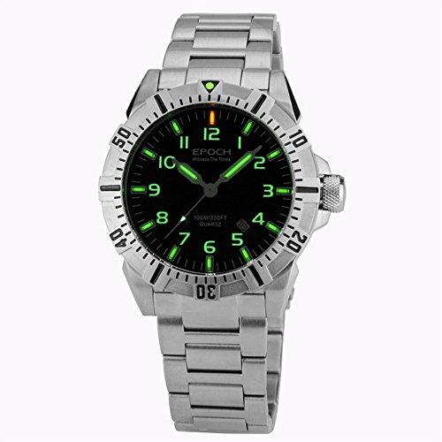 EPOCH 6020G A Style steel strap waterproof 100m tritium gas tubes luminous sport diving quartz watch -  6020G-A-Style