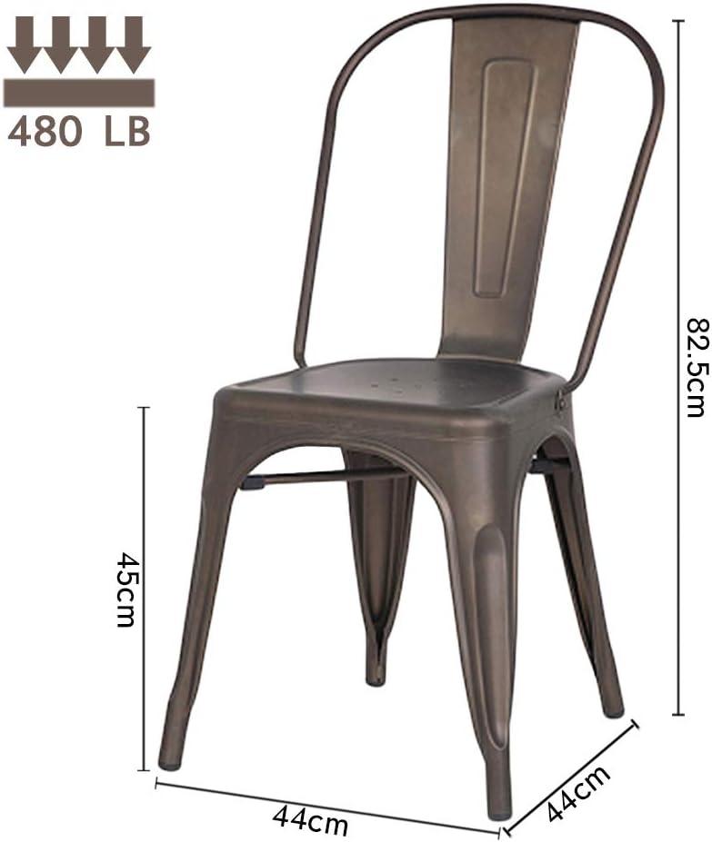 H JINHUI Bronze Metal Garden Dining Chair Set of 4 Industrial Vintage Stackable Kitchen Chair High Back Black for Home Bistro Restaurant Wedding Cafe Patio Outdoor and Indoor