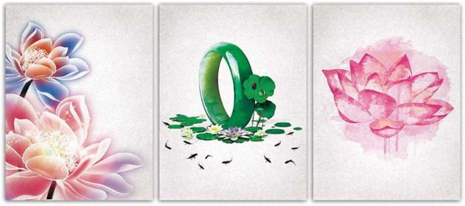 Hermosa Lotus Jade pulsera lienzo impreso pintura pared arte cartel nórdico flor fotos para oficina sala de estar decoración del hogar-50x70cmx3 piezas sin marco