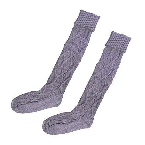 Winterkousen Voor Dames, Zoals Mijn Dames Lange, Gebreide Lange Laarsokken Over De Knie Dij Hoge Kous Paars