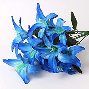 ShineBear New 1 Bundle Silk Lily Artificial Flowers for Wedding New Year Christmas Home Vase Decora Accessories for Table Fake Narcissus - (Color: Blue) 42