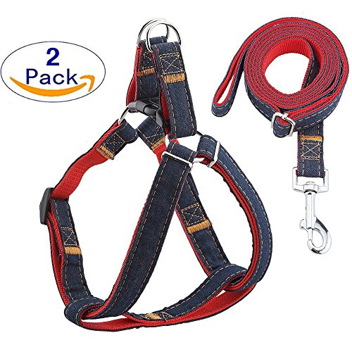 SAVE 40% FREESTYLE Pet Harness and Leash Set - Perfect for Puppy Training, Dog Walks and Running - Halter Collar for Small, Medium and Large Dogs. Comfortable, Adjustable & Durable - Heavy Duty Denim.