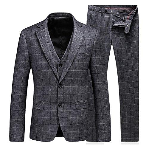WEEN CHARM Men's 3-Piece Suit Two Button Plaid Slim Fit Blazer Jacket Coat Vest & Pants