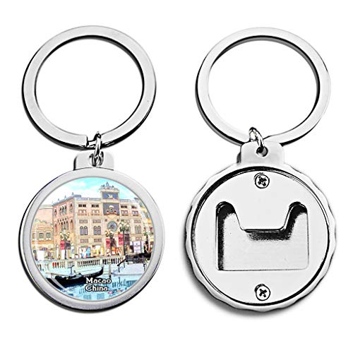 (China Bottle Opener Keychain Casino at Venetian Macao Mini Bottle Cap Opener Keychain Creative Crayon Drawing Crystal Stainless Steel Key Chain Travel Souvenirs)