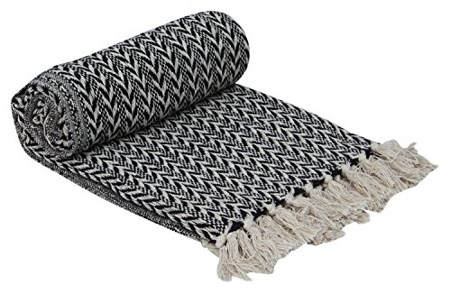 Black And White Herringbone (Deals of the Day - Cheveron Cotton Throw 62 x 52 Hand-Woven 100% Cotton Throw Blanket Black & White Reversible with Tassels Throws for Couch Sofa Chair - Home Decor Furnishings)