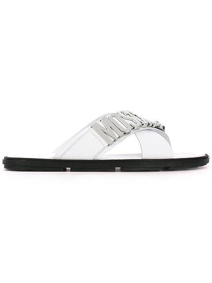 ac1e6a1dc60 Moschino Hombre 563499102 Blanco Cuero Sandalias  Amazon.es  Zapatos y  complementos