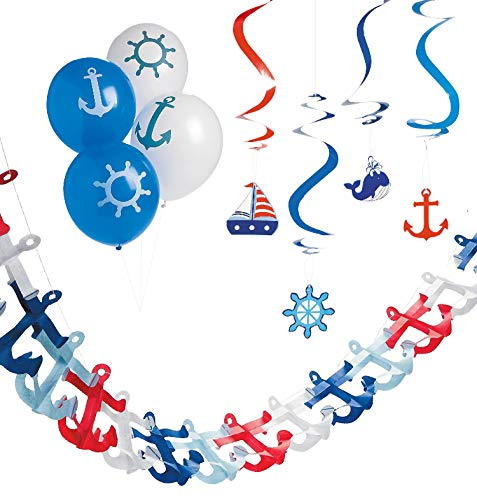 Nautical Baby Shower and Party Decor - 3 Piece Decorating Kit for Boy or Girl with Balloons, Garland, Hanging Swirls
