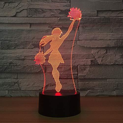 Plate Girl Cheerleader (Sykdybz Cheerleader Girls 3D Lamp Cool Night Light 7 Colors Visual Sleeping Desk Led Lamp Home Decor Fixture Novelty Team Match Gifts)