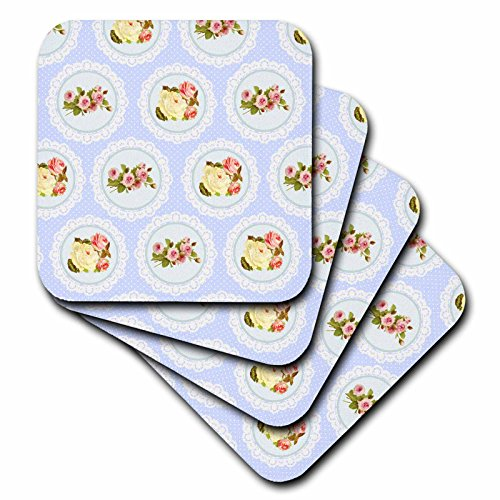 3dRose cst_151422_3 Shabby Chic Flower Pattern Pink & White Roses in Lace-Graphic Circles on Girly Vintage Baby Blue Ceramic Tile Coasters, (Set of 4)