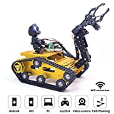 WiFi Smart Robot Car Kit for Raspberry Pi, Gold Robot Tank Chassis, 2DOF Hd Camera, 4DOF Robot Arm, Remote Control Vehicle Toy Controlled by Android/iOS App PC