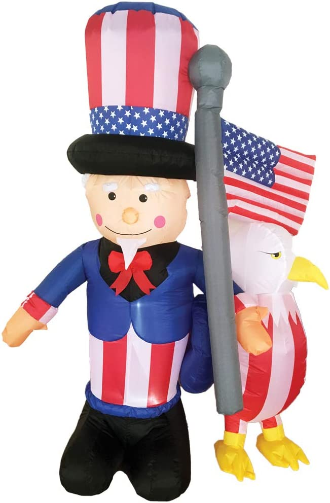 B07HY3WMK3 Inflatable Uncle Sam w/Eagle Holiday Theme Party Patriotic Yard Decoration 51C2xTFdk-L.SL1000_