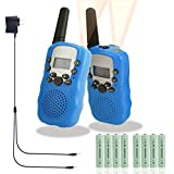 Walkie Talkies for Kids Rechargeable Long Range Walky Talky Girls Boys Long Range 2 Way Radio 22 Channel With Flashlight Kids Outdoor Toys (Blue)