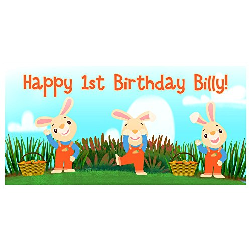 Harry the Bunny Birthday Banner Personalized Party Backdrop Decoration