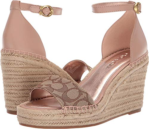 Coach Women's Kit Wedge Espadrille with Signature Jacquard Khaki/Pale Blush Mixed Material 5.5 M US
