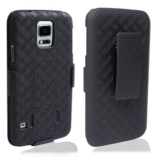 wholesale dealer 2ac63 2a3a3 Galaxy S5 Case - Belt Clip Holster Cover Shell Kickstand Criss Cross Black  New Plaid Design, Samsung Galaxy S5 Case