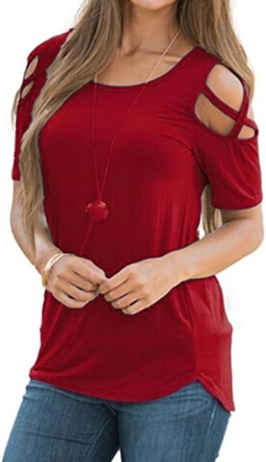 QinMM Camiseta sin Hombro para Mujer, Manga Corta Blusa de Color Liso