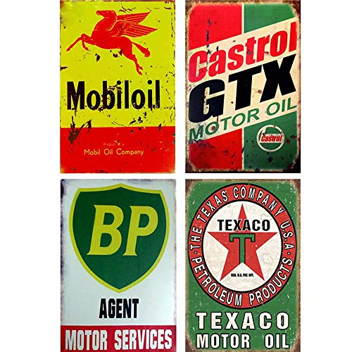 FlowerBeads Mobiloil Company Old Tin Signs Metal Posters Bar Pub Club Tavern Garage Wall Decor Retro Iron Plaque (4PCS -