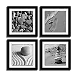 HLJ ART Black Frames Romantic Beach Theme 4 Piece Modern Giclee Artwork Sea Beach Ocean Canvas Prints Contemporary Abstract Seascape Pictures Paintings on Canvas Wall Art for Bedroom Home Decorations
